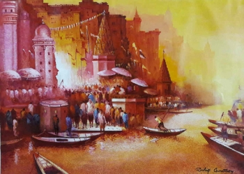 arcylic on canvas painting titled Magical Benares I