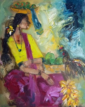 oil on canvas painting titled Flavours of an Indian Fair VI