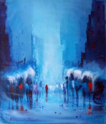 arcylic on canvas painting titled The Poetry of Monsoons