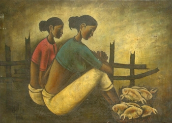 Oil on Canvas painting titled Fisherwomen