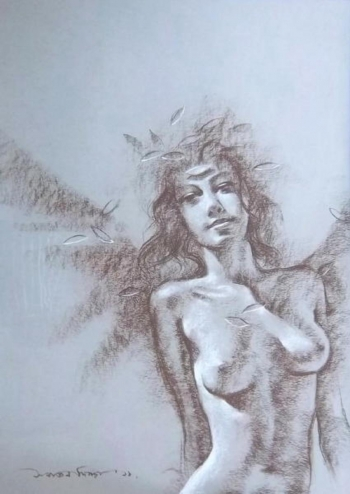 Soft Pastel on Paper painting titled A Flirtatious Beauty VII