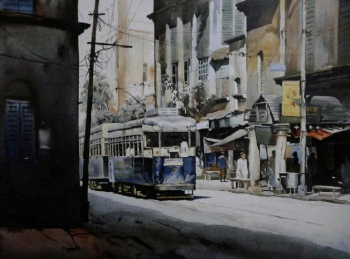 Acrylic on canvas painting titled A Journey through Kolkata