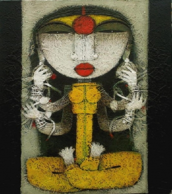Mixed Media on Canvas painting titled Devi