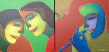 Acrylic on Canvas painting titled Mirth & Music I & II
