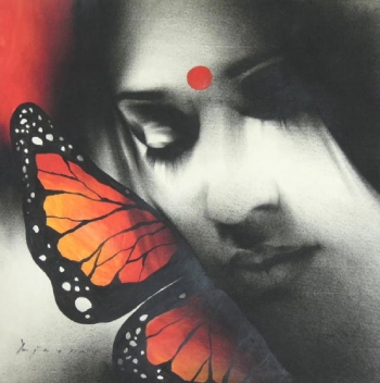 Charcoal & Acrylic on Paper painting titled The Butterfly Lady