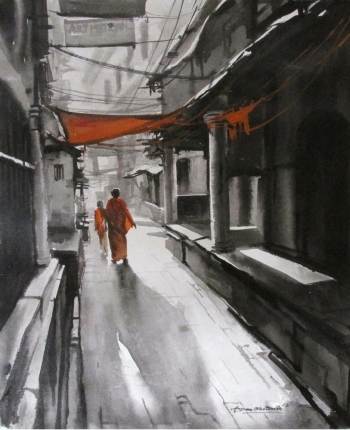 Acrylic on Canvas painting titled The Fascinating Streets of India I