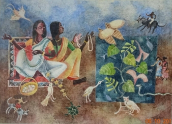 Watercolor on Paper painting titled Everyday rituals in my village