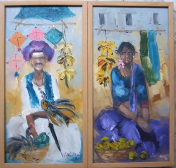 oil on canvas painting titled A Cheerful Sight VI & VIII