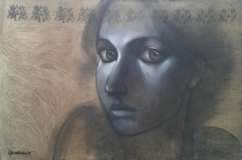 Charcoal & Acrylic on canvas painting titled The windows to her sowl