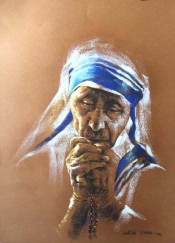 Soft Pastel on Paper painting titled Prayers of Peace