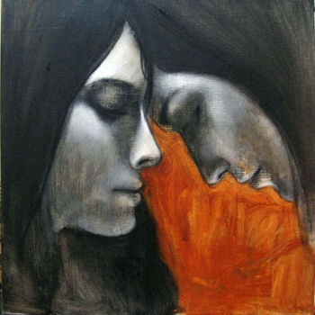 charcoal and arcylic on canvas painting titled Sisters