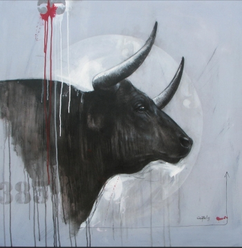 Mixed media on canvas painting titled  A Magnificent Bull II
