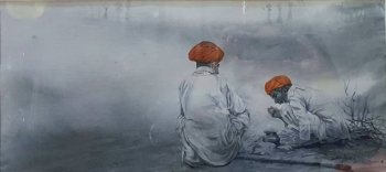 Watercolor on paper painting titled Two Friends Chatting