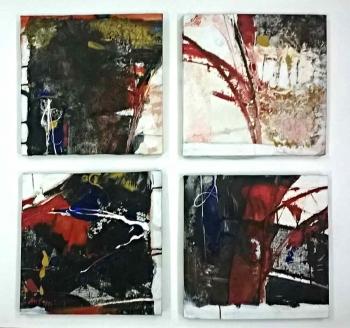 Acrylic on Canvas painting titled Shades of Music I - IV