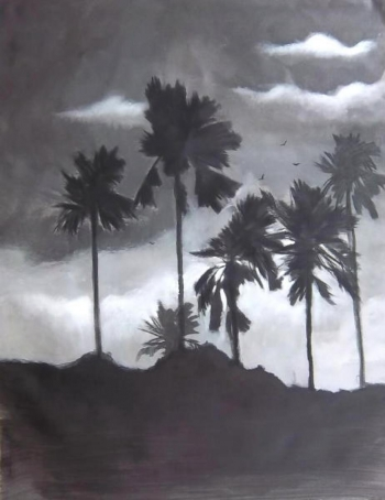 Charcoal & Acrylic on canvas painting titled Monsoon