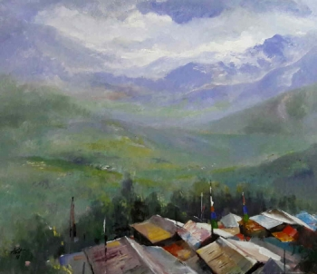 Acrylic on Canvas painting titled The View from My Window