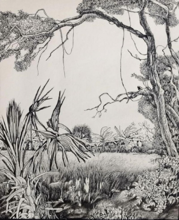 Pen & Ink on Paper painting titled A Nostalgic Countryside I