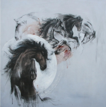 Charcoal on Paper painting titled A Handsome Horse II