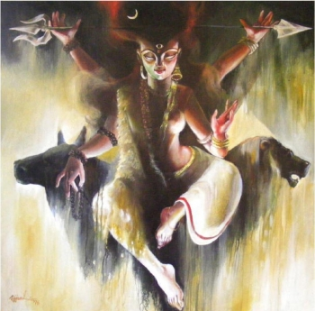 Oil and arcylic on canvas painting titled Ardhanariswar