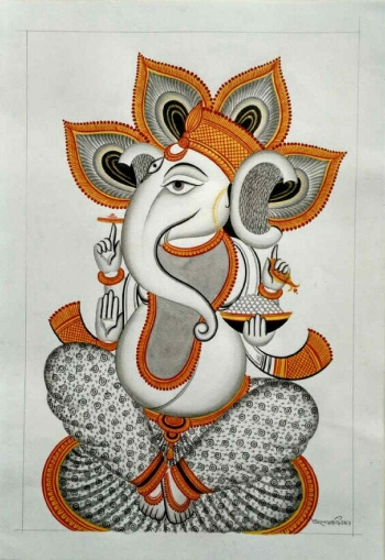 Veg Dye on Paper painting titled Ganesha