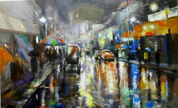 Acrylic on Canvas painting titled Magical Monsoons in Kolkata