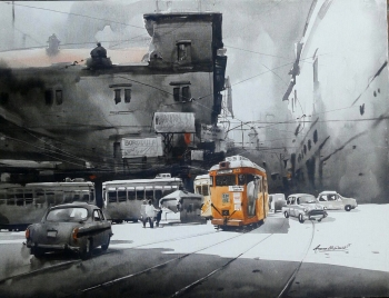 Acrylic on Canvas painting titled A Journey through Kolkata- V