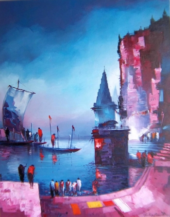 arcylic on canvas painting titled Morning Prayers at the Ghats