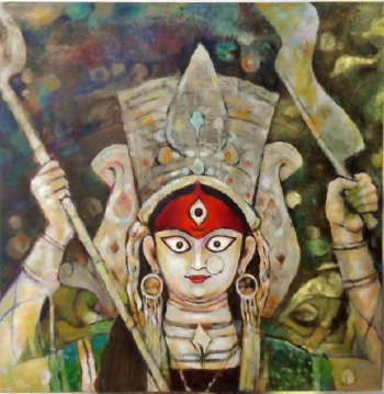 oil on canvas painting titled The magic of Durga