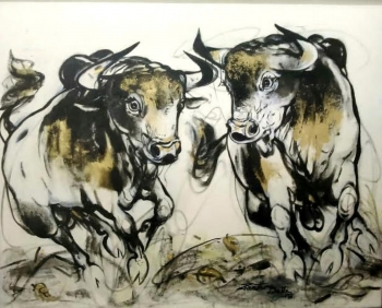 Acrylic on Canvas painting titled Running Bulls