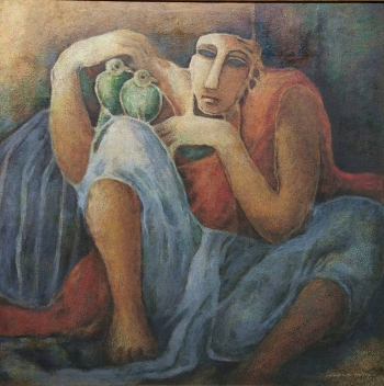 Oil on Canvas painting titled The Bird Seller I