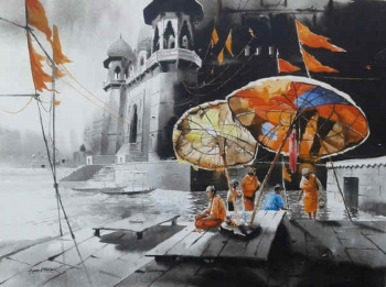 Acrylic on Canvas painting titled The Ghats of Varanasi