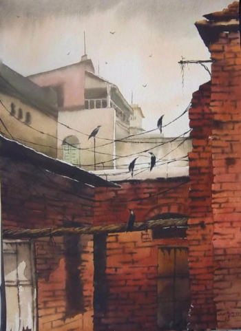 Watercolour on paper painting titled A Kolkata Alley