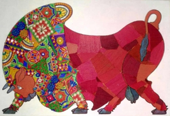 Mixed media on Canvas board painting titled Majestic Bull II