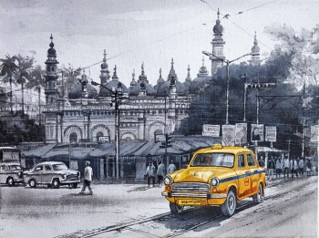 Acrylic on Canvas painting titled Charming Kolkata II