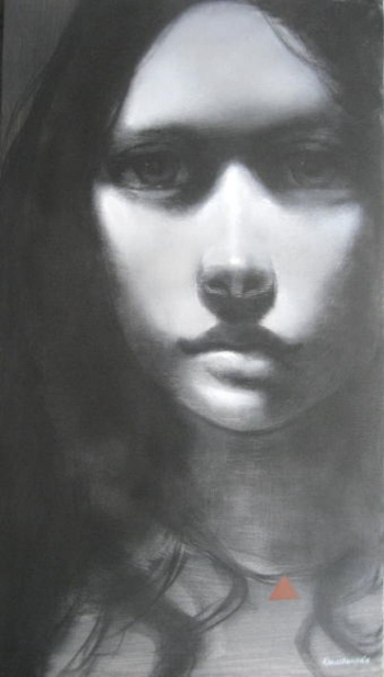 Charcoal & Acrylic on canvas painting titled The Intensity of Her Gaze