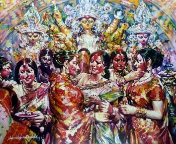Acrylic on Canvas painting titled The Joyous Celebrations of Sindhoor Khela
