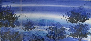 Watercolour on paper painting titled Blue Mist over the Valley