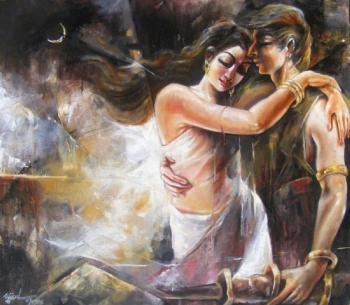 Oil & Acrylic on Canvas painting titled A Moonlight Romance