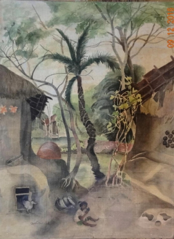 Watercolour on Silk painting titled The Village Yard