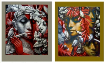 Mixed Media on Canvas painting titled The Flutist & His Admirers I & II