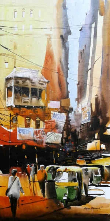 Acrylic on canvas painting titled The Heritage of Kolkata IV