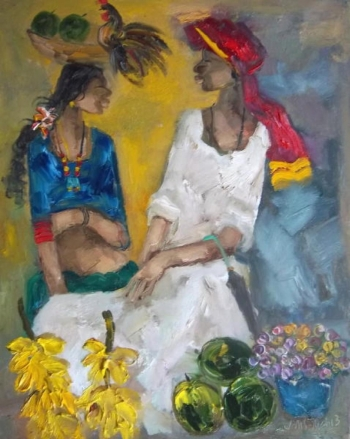 oil on canvas painting titled Flavours of an Indian Fair VII