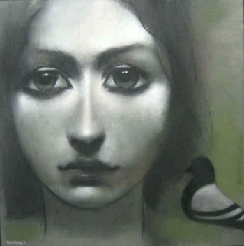 Charcoal & Acrylic on canvas painting titled An innocent gaze