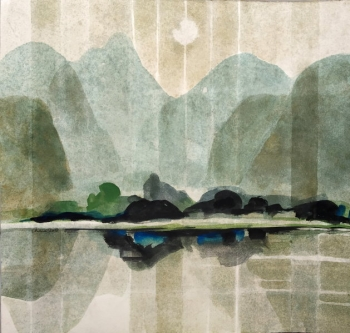 Watercolour on Paper painting titled Sunrise in the Hills