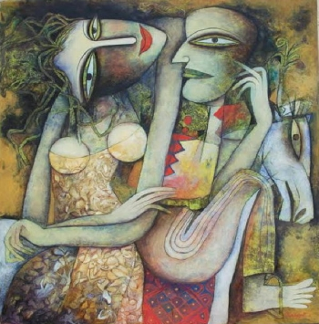 Tempera on canvas board painting titled Tales of Love