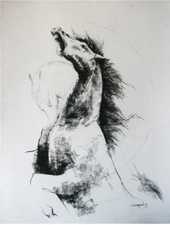 Charcoal on Paper painting titled Majestic Horses II