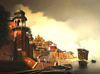 Oil & Acrylic on Canvas painting titled Sunrise at the Ramnagar Fort, Varanasi