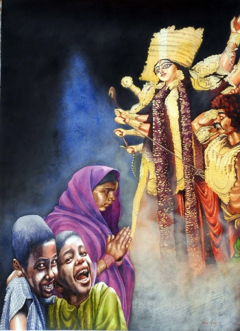 Watercolour on Paper painting titled Revelry around Goddess Durga
