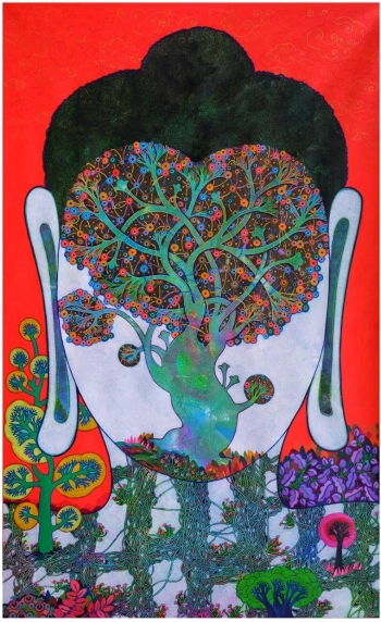 Acrylic on Canvas painting titled The Bodhi Tree