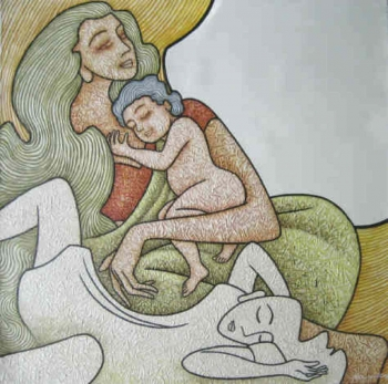 Acrylic on Canvas painting titled A Mother's Love